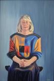 Lady with Colourful Jersey by mark harris, Painting, Oil on Board