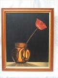 Poppy, Jar, Water, Flame by mark harris, Painting, Oil on Board